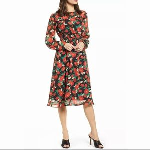 Leith | red and black floral dress | XS